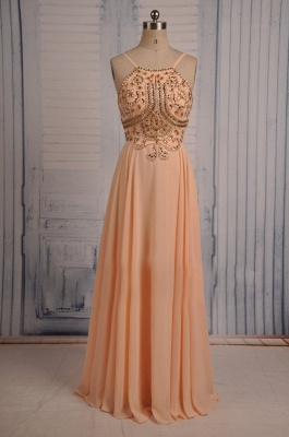 Coral Chiffon Spaghetti Straps Prom Dresses with Sparkly Crystals  Long Evening Dresses_1
