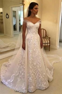 Glamorous Off Shoulder A-line Wedding Dresses    Appliques Court Train Bridal Gowns_1