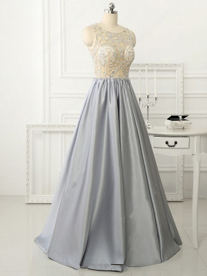 A-line Crystal Sleeveless Evening Dresses New Arrival Floor Length  Prom Gowns_4