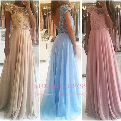 Chiffon Lace Appliques Prom Dresses  Floor Length Chic A-line Short Sleeves Evening Dress_4