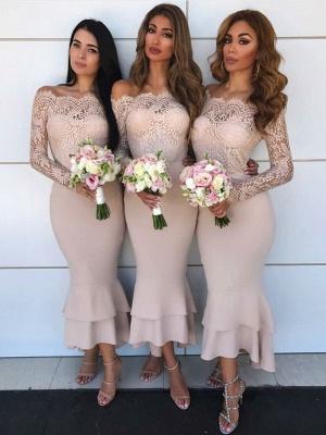 Long Sleeve Lace Bridesmaid Dresses    Short Sheath Ruffles Mermaid Formal Evening Dress_1