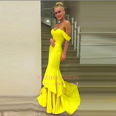 Mermaid Tiered Sweep Train Off-the-Shoulder Evening Gown  Sexy Prom Dress_1