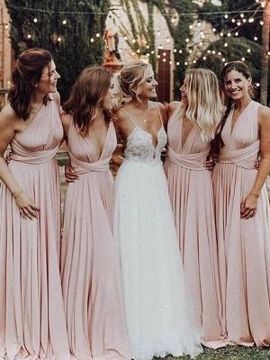 Elegant A-Line Chiffon Ruched V-Neck Long Bridesmaid Dress | Wedding Party Dress_1