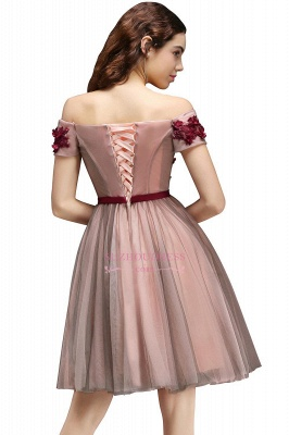 Short-Sleeves Off-the-Shoulder Burgundy-Flowers Knee-Length Homecoming Dresses_2