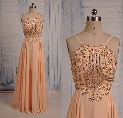 Coral Chiffon Spaghetti Straps Prom Dresses with Sparkly Crystals  Long Evening Dresses_3