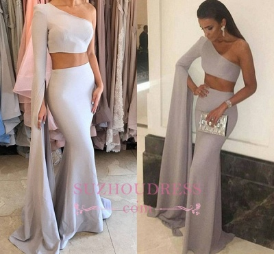 Floor Length Two Pieces Ball Dress One Shoulder Mermaid Stunning  Prom Dress_3