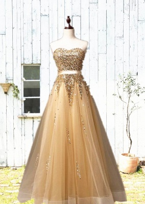 Sweetheart Organza Floor Length  Prom Dresses Sequined Gorgeous Crystal Evening Dresses_3