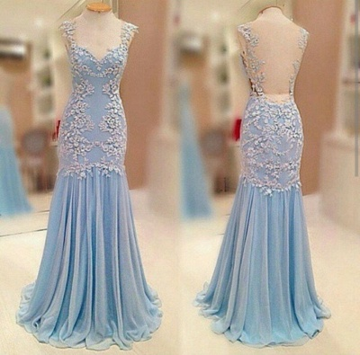 Sheer Back  Baby Blue Prom Dress Chiffon Sheath Evening Dresses_4