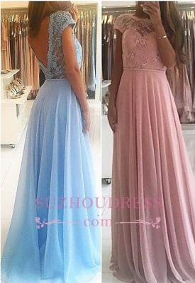 Chiffon Lace Appliques Prom Dresses  Floor Length Chic A-line Short Sleeves Evening Dress_3