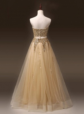Sweetheart Organza Floor Length  Prom Dresses Sequined Gorgeous Crystal Evening Dresses_2