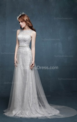 Beautiful Crystal Lace Long Prom Dresses with Beadings Tulle Custom Made Silver Grey Dresses for Juniors_3
