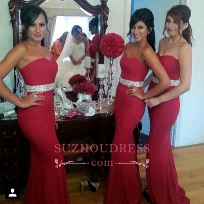 Crystal Mermaid Sweetheart Red Fornmal Dresses Gorgeous Bridesmaid Dress Cheap_1