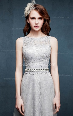 Beautiful Crystal Lace Long Prom Dresses with Beadings Tulle Custom Made Silver Grey Dresses for Juniors_2