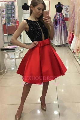Short A-Line Bowknot Sleeveless Sequined Homecoming Dresses_2