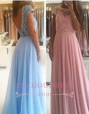 Chiffon Lace Appliques Prom Dresses  Floor Length Chic A-line Short Sleeves Evening Dress_5