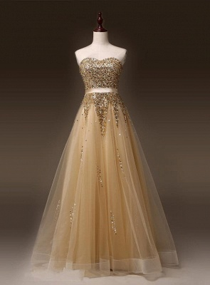 Sweetheart Organza Floor Length  Prom Dresses Sequined Gorgeous Crystal Evening Dresses_1