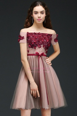 Short-Sleeves Off-the-Shoulder Burgundy-Flowers Knee-Length Homecoming Dresses_5