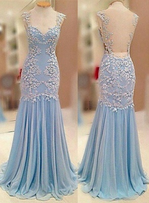 Sheer Back  Baby Blue Prom Dress Chiffon Sheath Evening Dresses_1