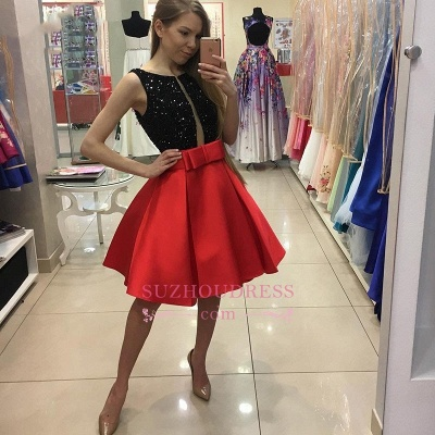 Short A-Line Bowknot Sleeveless Sequined Homecoming Dresses_1