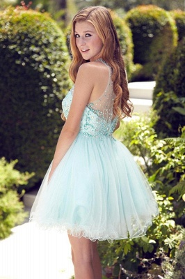 Cute A-Line Crystal Short Cocktail Gowns Beading Sleeveless Mini  Homecoming Dresses BA6002_3