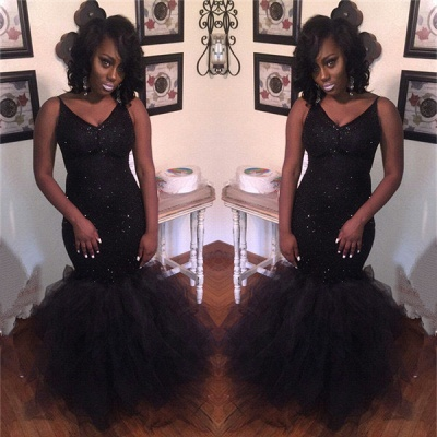 New Arrival Mermaid V-Neck Black Prom Dresses Sequins Sleeveless Evening Gowns BA8031_3