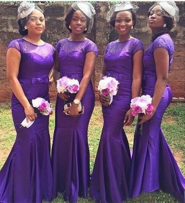 Mermaid Beadings Purple Bow Short Sleeves Popular Bridesmaid Dresses_3