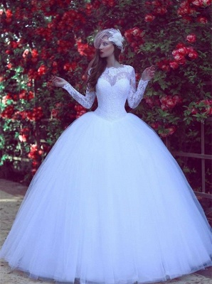 Gorgeous Long Sleeve Tulle  Wedding Dress New Arrival Lace Long Sleeve Bridal Gowns_1