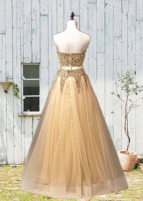 Sweetheart Organza Floor Length  Prom Dresses Sequined Gorgeous Crystal Evening Dresses_4