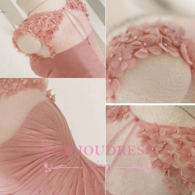 Long Pink Handmade Sheer-Neck Flowers Chiffon Bridesmaid Dresses_1