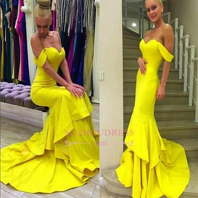 Mermaid Tiered Sweep Train Off-the-Shoulder Evening Gown  Sexy Prom Dress_4