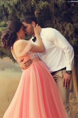 Cute Pink Crystal Short Sleeve Prom Dress New ArrivaL Tulle Long Evening Dress for Women_2