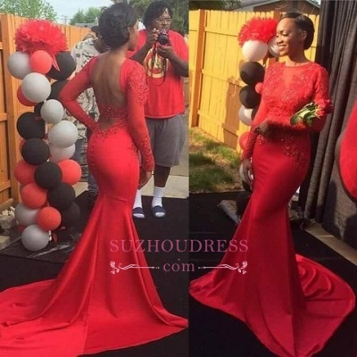 Long Sleeve Mermaid Backless Evening Gown  Red Lace Sexy Prom Dress_1