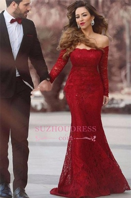 Long Sleeve Off-the-shoulder Prom Gowns Elegant Mermaid Red Lace Evening Dress BA3596_2
