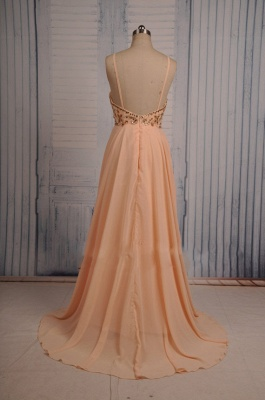 Coral Chiffon Spaghetti Straps Prom Dresses with Sparkly Crystals  Long Evening Dresses_2