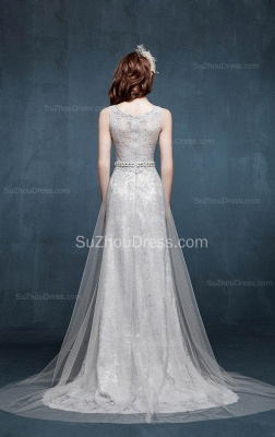 Beautiful Crystal Lace Long Prom Dresses with Beadings Tulle Custom Made Silver Grey Dresses for Juniors_5