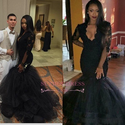 Black V-neck Long Sleeve Evening Gown  Sweep Train Mermaid Sexy Lace Prom Dress BA4816_2