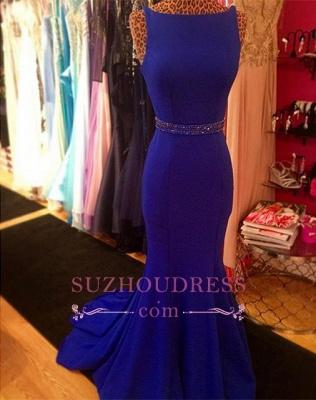 Glamorous Sweep-Train Mermaid Royal-Blue Beadings Sleeveless Evening Dress_4