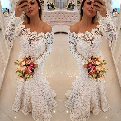 Off The Shoulder Lace Mermaid Wedding Dresses   Long Sleeve  Sexy  Bride Dress_3