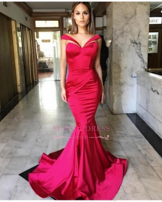 Off-The-Shoulder Mermaid Evening Gown  Sleeveless Sweep-Train Sexy Prom Dresses BA7822_1