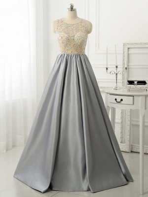 A-line Crystal Sleeveless Evening Dresses New Arrival Floor Length  Prom Gowns_1