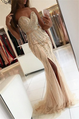 New Arrival Sweetheart Mermaid Evening Gowns  Side Slit Crystal Mermaid Prom Dresses AN0_1