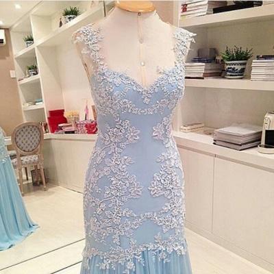 Sheer Back  Baby Blue Prom Dress Chiffon Sheath Evening Dresses_3