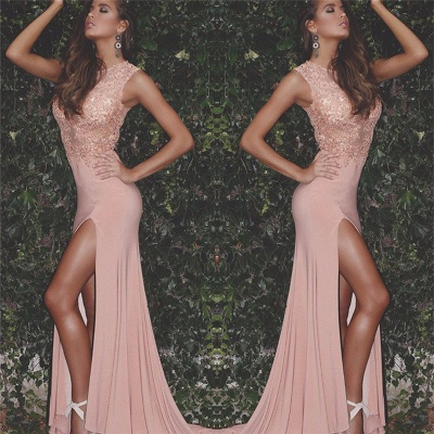 Sexy Beaded Lace Appliques Evening Dresses Sleeveless Cheap Formal Dress with Split  FB0145_3