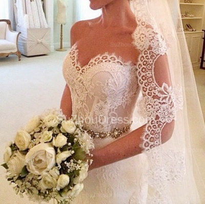 Beautiful Sweetheart White Lace Wedding Dress Popular Crystal Long Bridal Gown for Women_3