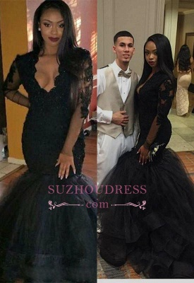 Black V-neck Long Sleeve Evening Gown  Sweep Train Mermaid Sexy Lace Prom Dress BA4816_1