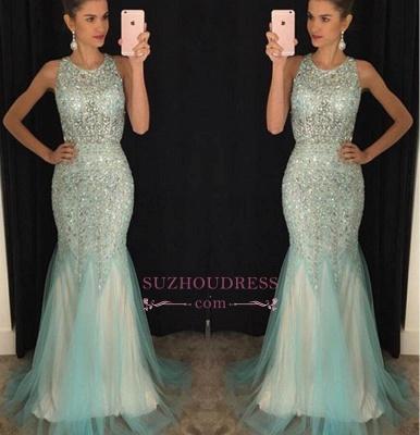 Sleeveless Luxury Scoop Crystal Mermaid  Tulle Prom Dresses GA094 BA7309_1