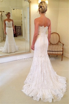Beautiful Sweetheart White Lace Wedding Dress Popular Crystal Long Bridal Gown for Women_2