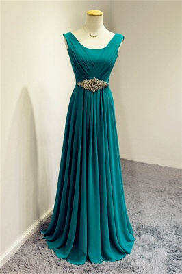 Blue Chiffon Long Prom Dresses Crystal Elegant Sweep Train Popular Evening Gowns_2
