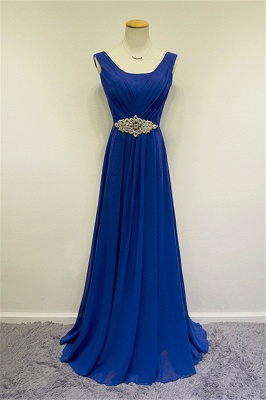 Blue Chiffon Long Prom Dresses Crystal Elegant Sweep Train Popular Evening Gowns_1