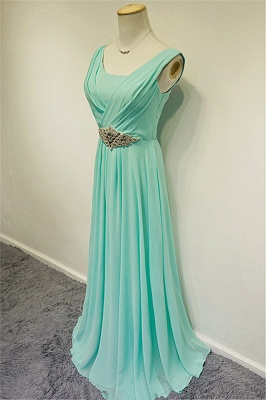 Blue Chiffon Long Prom Dresses Crystal Elegant Sweep Train Popular Evening Gowns_5